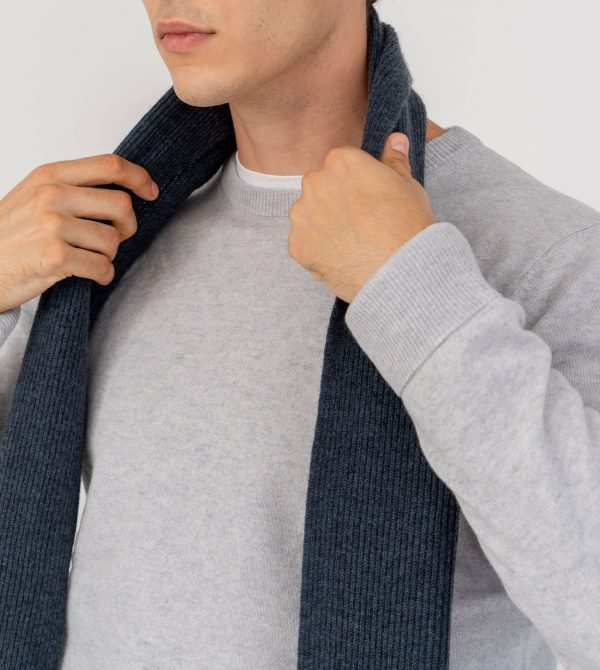 Men Mongolian Cashmere Ribbed Scarf