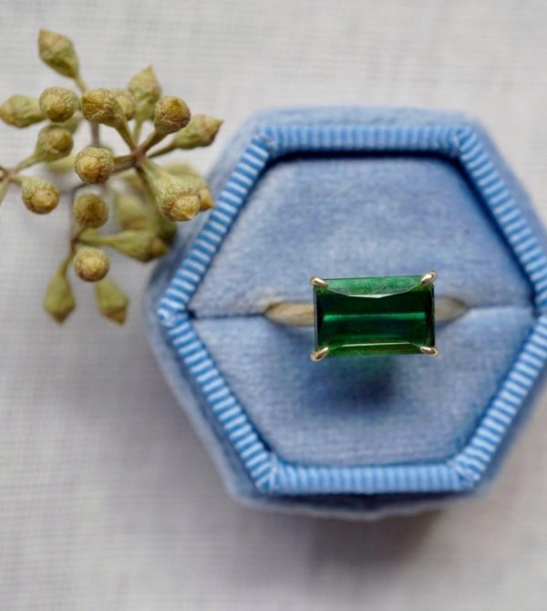 East West Green Tourmaline Ring