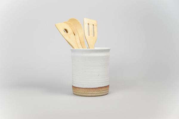 Hand-Thrown Ceramic Utensil Jar