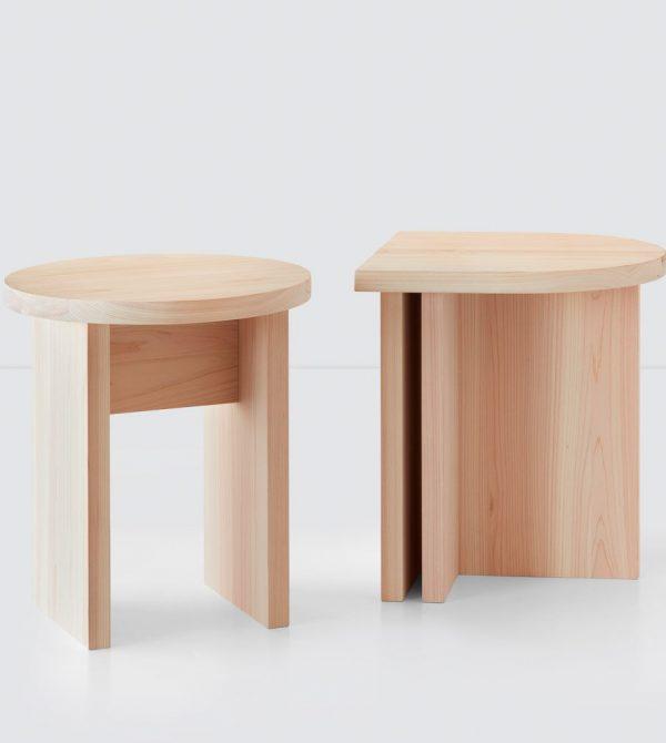 Hinoki Wood Round Side Table