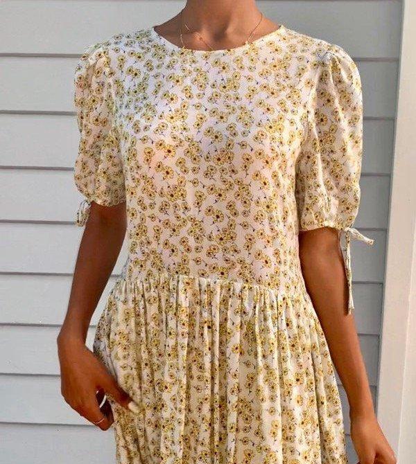 Cecilie White Cotton Floral Dress