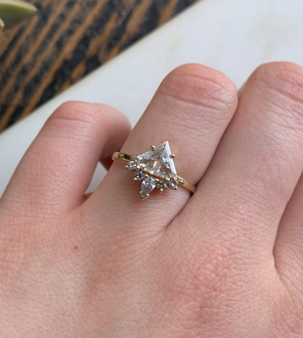 Shield Cut White Diamond Ring