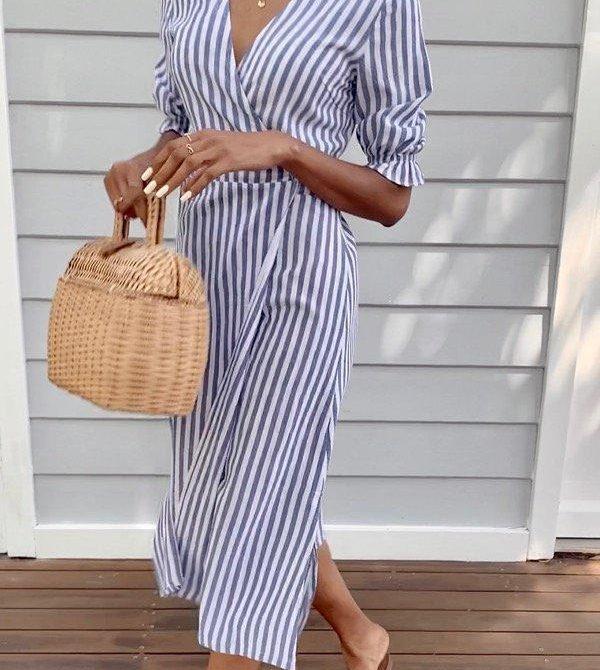 Lia Indigo Stripe Cotton Wrap Dress