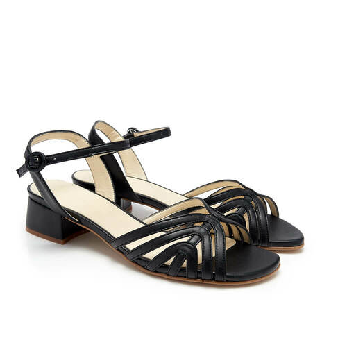 Joey Black Faux Leather Sandals