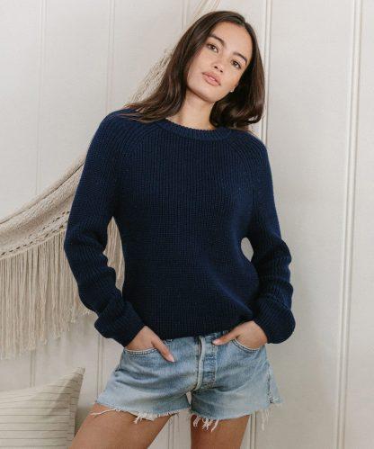 Cotton Fisherman Sweater - Navy   Jenni Kayne