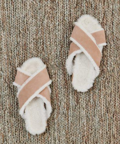 Shearling-Lined Crossover Sandal - Natural | Jenni Kayne