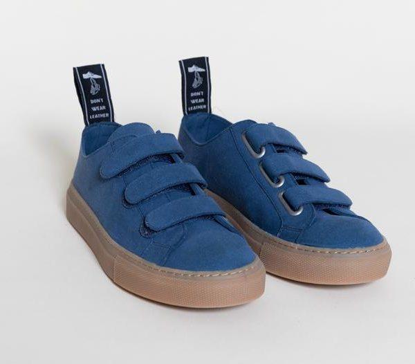 KEITH INDIGO Velcro low top sneakers, Vegan Suede