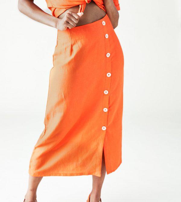 The Isla Skirt in Spicy Orange  — Left Edit