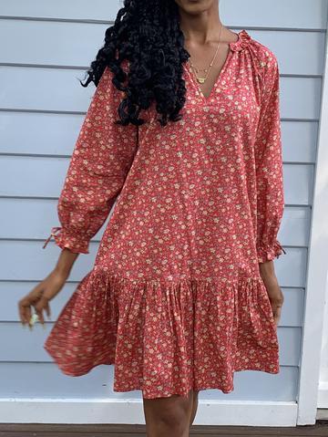 Liberty Red Print Cotton Dress