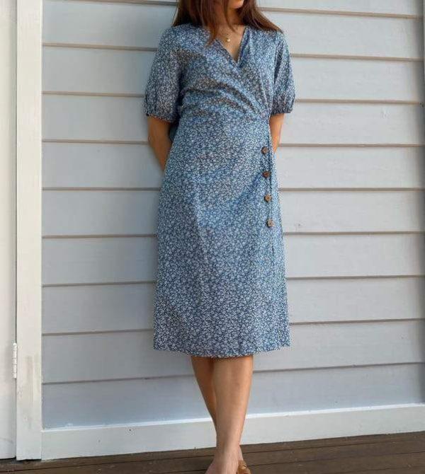 Lila Blue Floral Cotton Wrap Dress