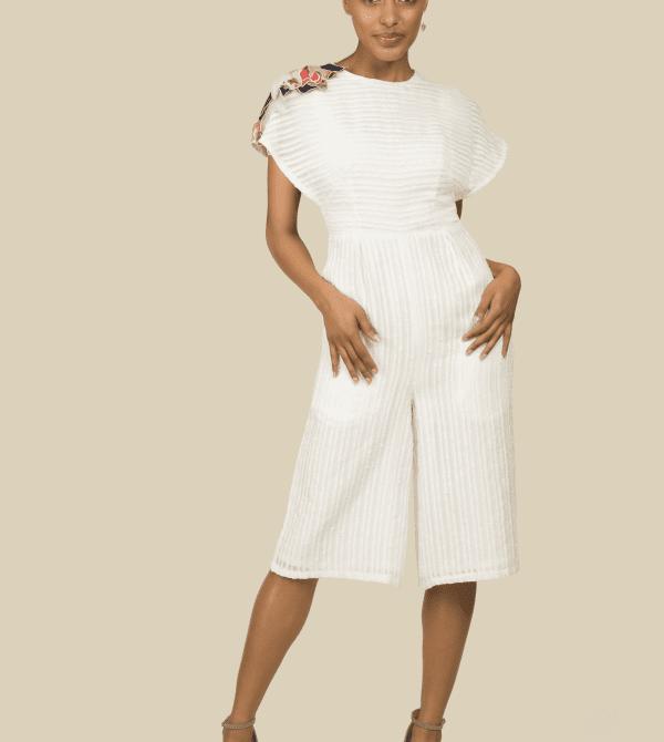 White Cropped Cotton Jumpsuit