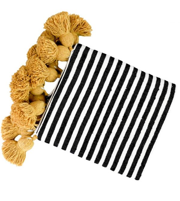 Moroccan Throw Blanket with Tassels (Black, White and Yellow)