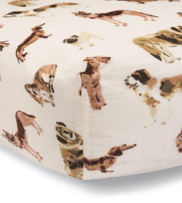 Organic Muslin Fitted Crib Sheet (Natural Dog)