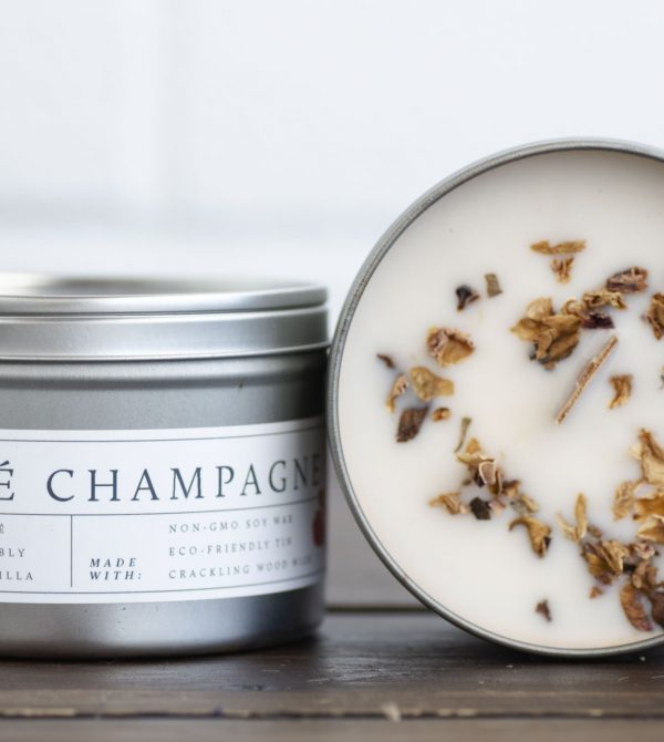 Wood Wick Candle (Rosé Champagne)