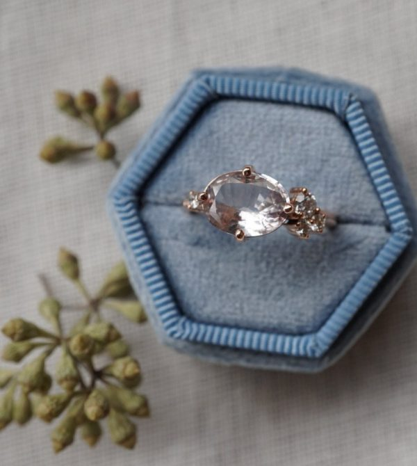 Oval Lavender Sapphire Cluster with Diamonds