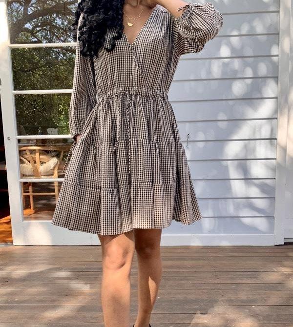 Priya Long Sleeve Gingham Dress