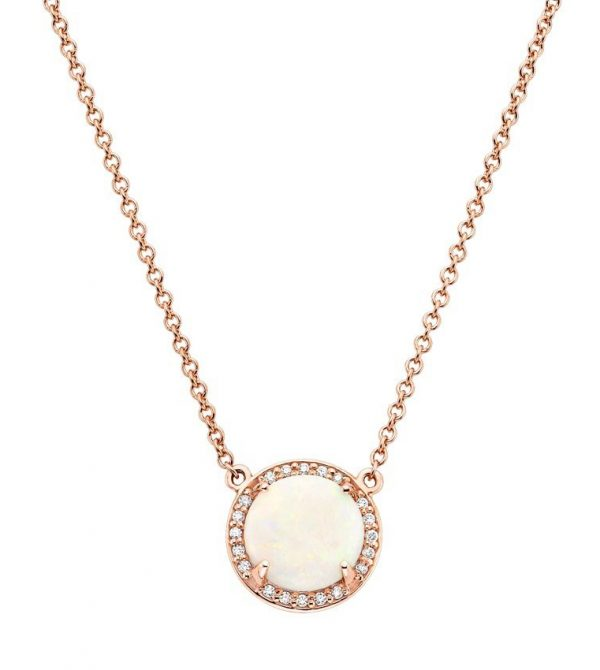 14K Rose Gold Opal Halo Diamond Pendant