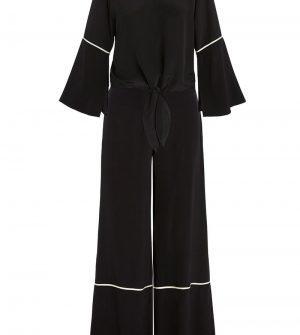 Reeder Silk Tie Front Top and Wide Leg Set
