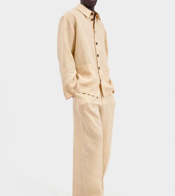 Cream Linen Unisex Pajama Set with Pants   Sleeper