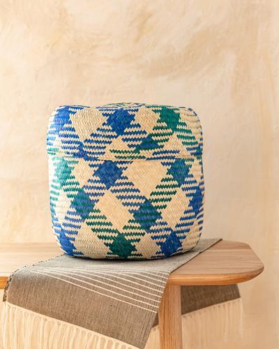 Medium Oaxacan Woven Basket Green + Blue