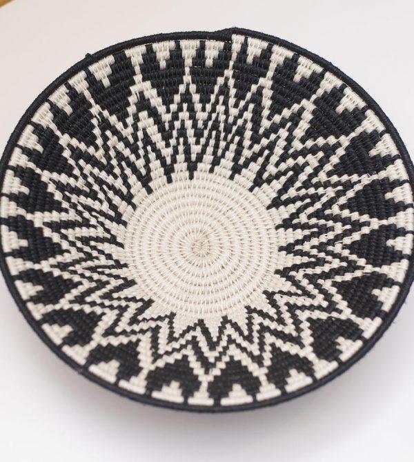 Tintsaba Sisal Basket, Black White Pattern 9″ | 54kibo African Design