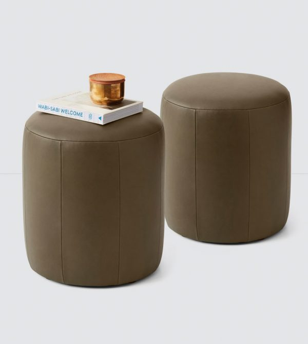 Upholstered Leather Ottomans & Poufs