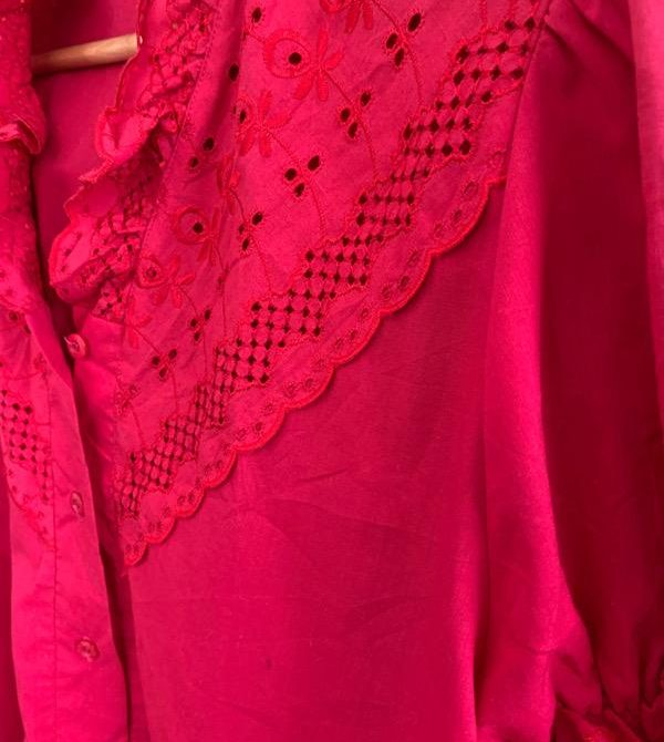 Vintage Hand Dyed Red Blouse
