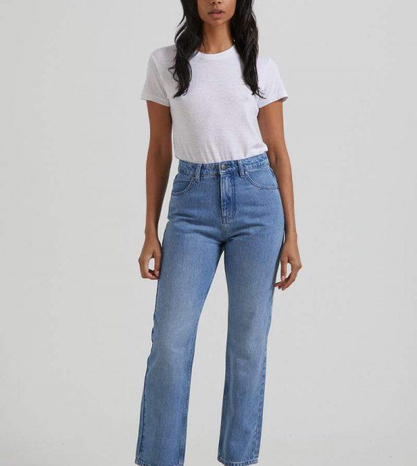 Afends Womens Violet – Hemp Denim Straight Leg Jean – Worn Blue