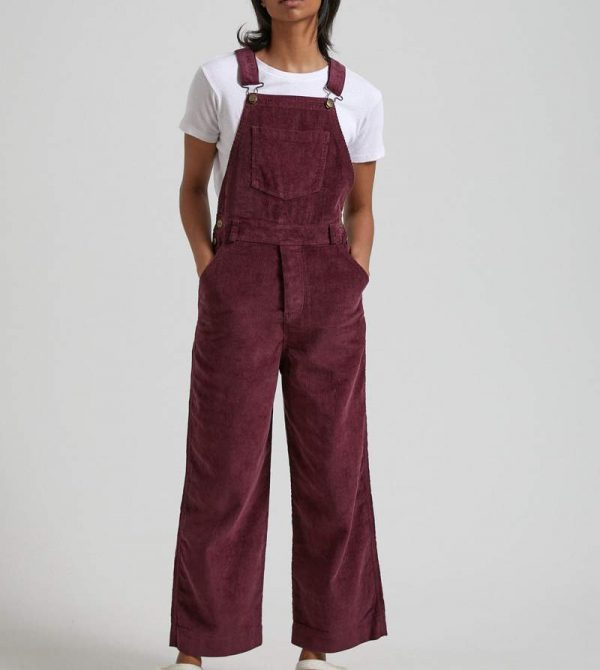 Afends Womens Lucie – Hemp Corduroy Overall – Wine