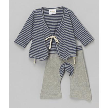 Navy Stripe Baby Kimono Set