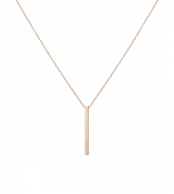 Short Gold Bar Drop Necklace