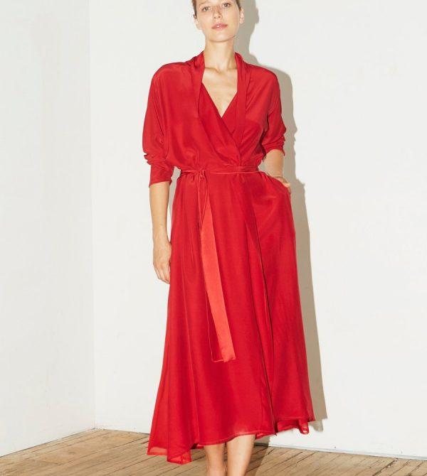 Passion Red Silk Kimono Robe
