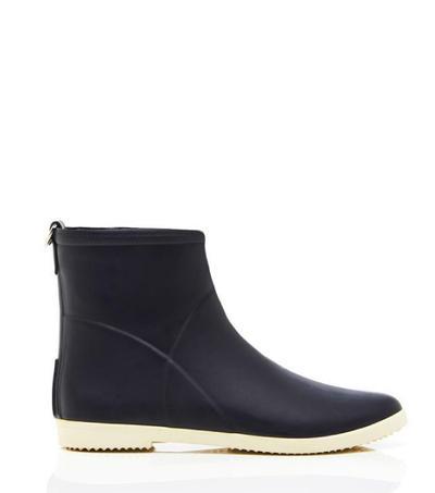Minimalist Black White Ankle Rain Boot