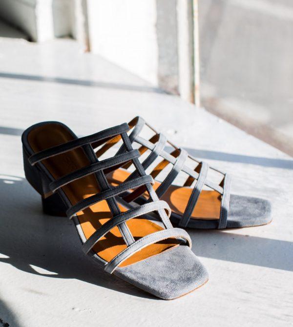 Grid Suede Sandal