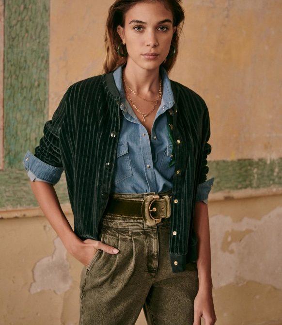 Iris Jacket – Sage – Organic Cotton – Sézane