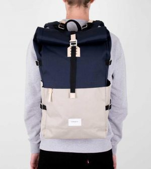 Sandqvist – Bernt Backpack l Multi Beige / Navy with Natural Leather