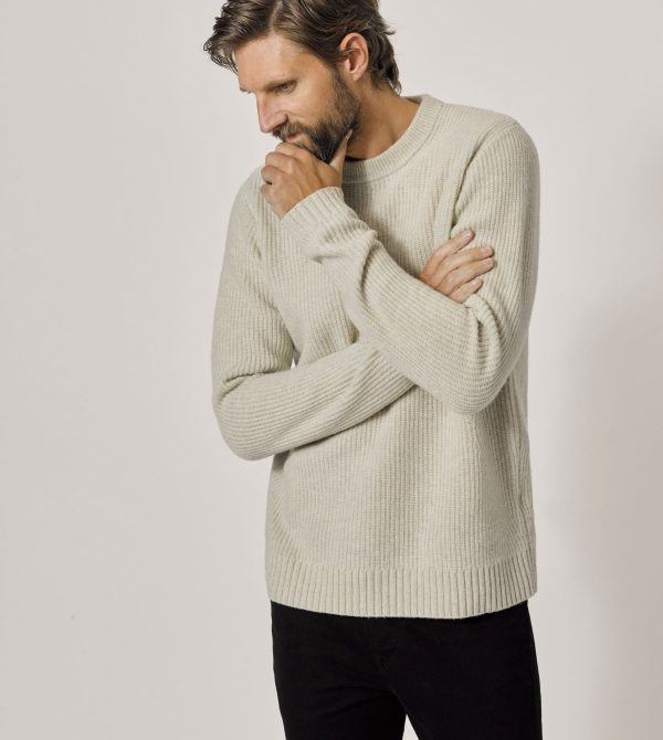 Natural Five Gauge Fisherman Rib Sweater