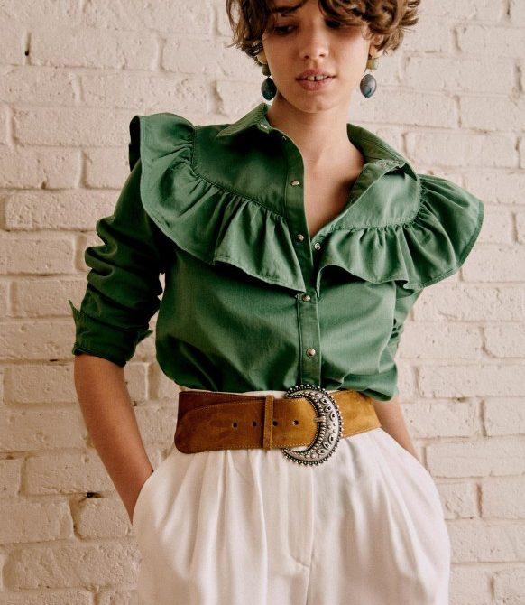 Matty Shirt – Cargo Green – Organic Cotton – Sézane