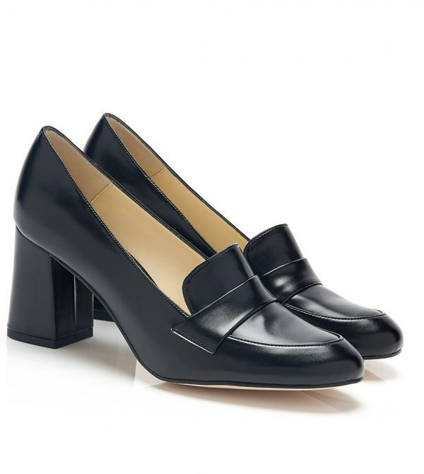 Leather Block Heel Vegan Loafers
