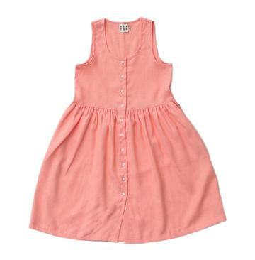 GATHERED DRESS, CORAL