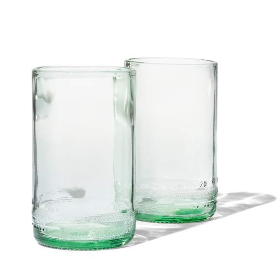 TWIN – 8oz Upcycled Glass Cups (Set of 2)Green Tinted