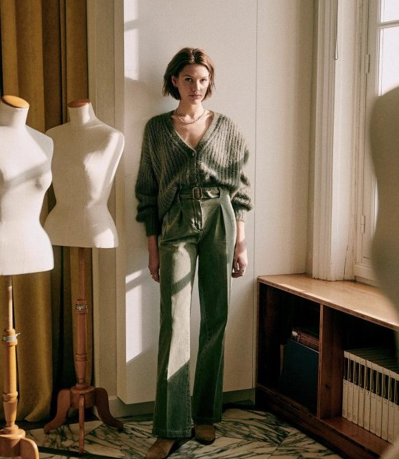 Olivier Trousers – Olive Green – Polyester – Sézane