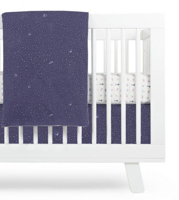 Galaxy Crib Skirt (Stars) In Navy color