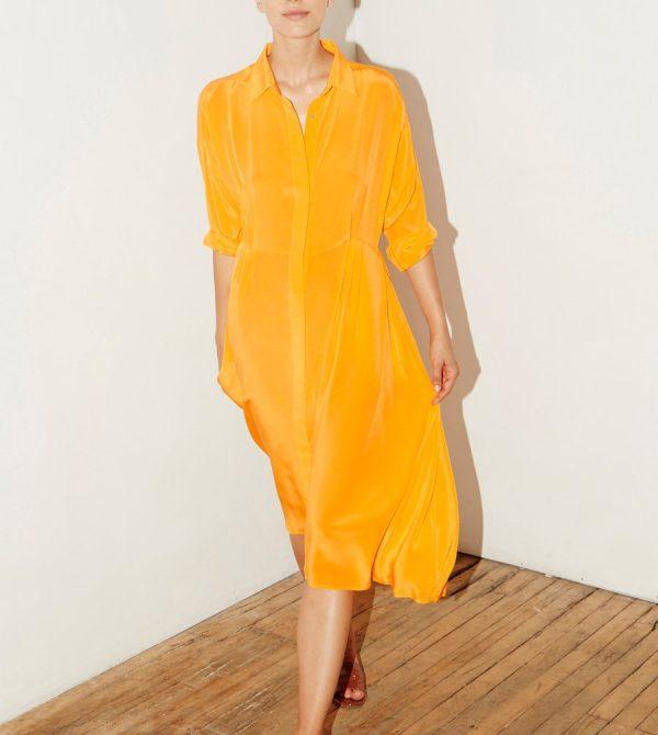 Citric Orange Silk Shirt Dress