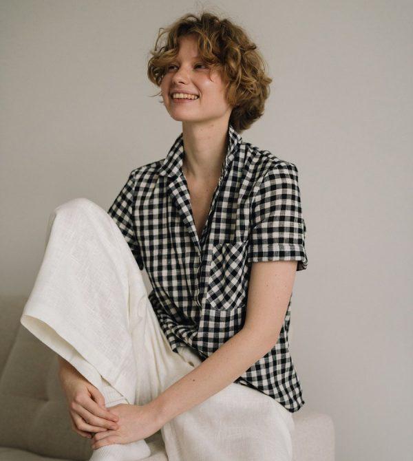 Short sleeves gingham shirt, cotton linen
