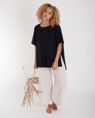 Hayley Organic Cotton Top In Black