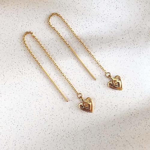 Heart Gold Threader Earring