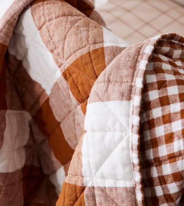 Reversible Gingham European Linen Toddler Quilt