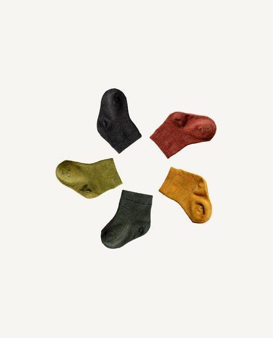 Merino Infant Nature Socks 5 pack Harakeke