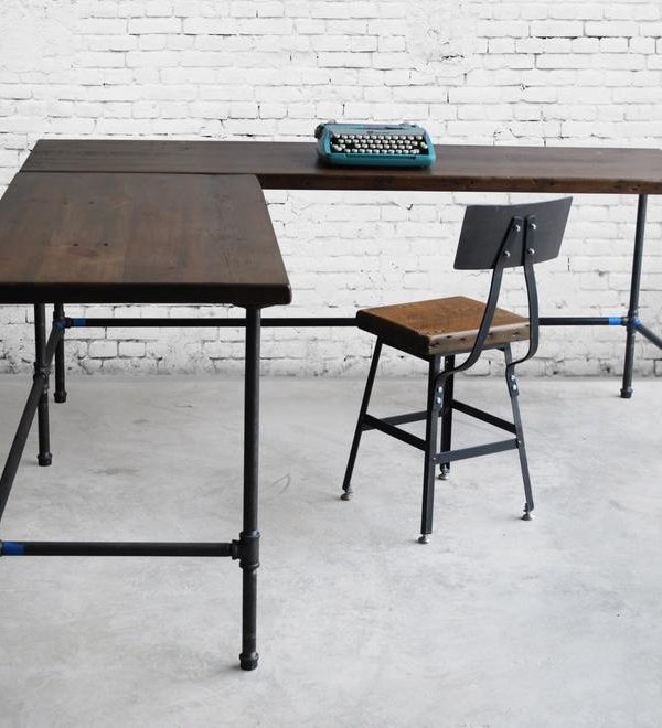 L-Shaped Desk with reclaimed wood top